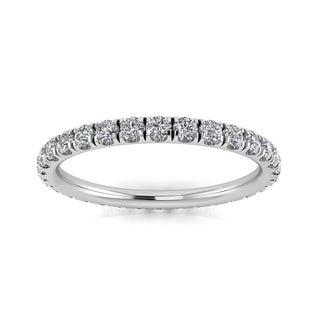 Platinum 5/8ct TDW Round-cut Diamond Split Prong-set Eternity Ring