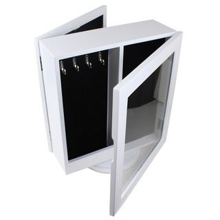 Ikee Design White and Black Wood, Glass and Fabric Two-Sided Rotating Table Top Jewelry Cabinet with Mirror