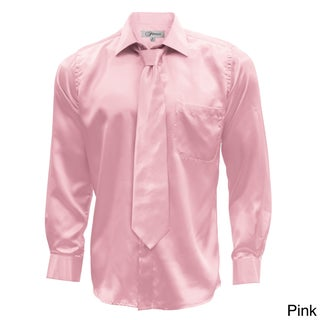 Men's Satin Dress Shirt XS to Big and Tall Necktie and Hanky Set (More options available)