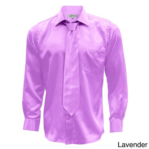 Men's Satin Dress Shirt XS to Big and Tall Necktie and Hanky Set