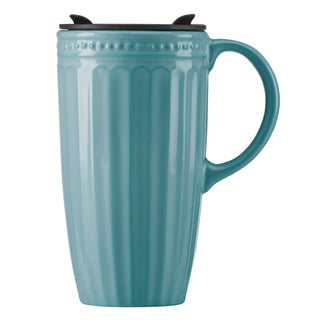 Lenox French Perle Groove Bluebell Travel Mug With Handle