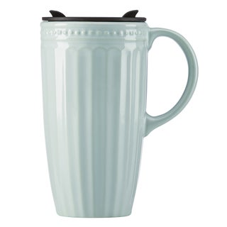 Lenox French Perle Groove Ice Blue Porcelain Travel Mug with Handle
