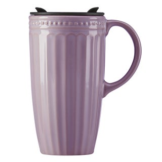Lenox French Perle Groove Lavender Travel Mug with Handle