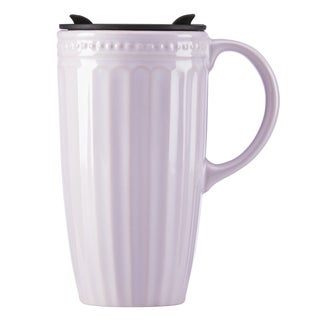 Lenox French Perle Groove Lilac Porcelain Travel Mug with Handle