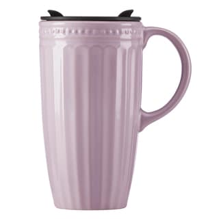 Lenox French Perle Groove Violet Porcelain Travel Mug with Handle
