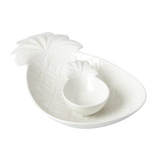 Lenox British Colonial Carved White Porcelain Chip and Dip