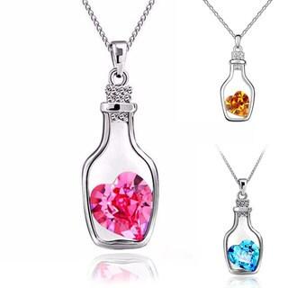 Mint Jules Dainty Drift Love Letter 'Message in a Bottle' Crystal Heart Pendant