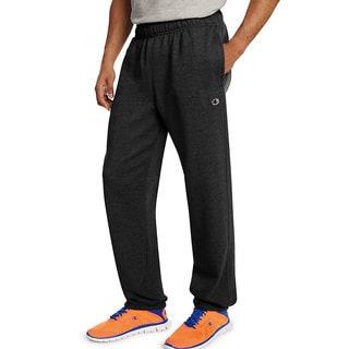 Champion Men's Black Cotton, Polyester Fleece Relaxed Bottom Pants