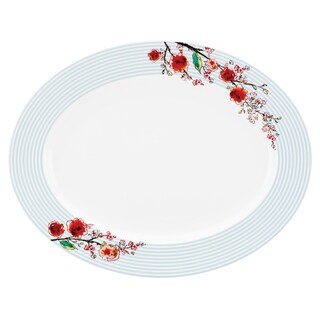 Lenox Chirp Stripe White Bone China 16-inch Oval Platter