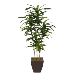 Faux 5-feet Dracaena Tree in a Metal Container