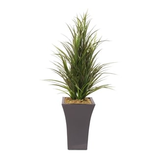 Faux Dracaena Bush in a Tall Metal Container