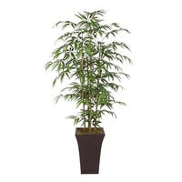 66-inch High Bamboo Tree with Real Bamboo Poles in Metal Container