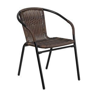 Offex Rattan Indoor Outdoor Lightweight Restaurant Stack Chair