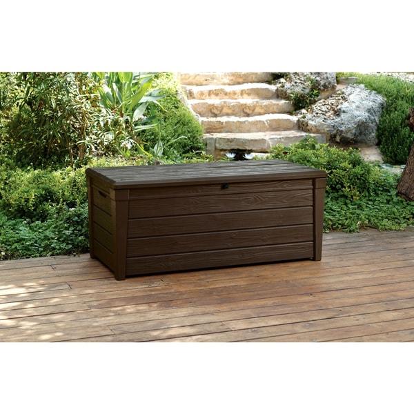 Keter Brightwood Plastic Deck Storage Box Outdoor Patio