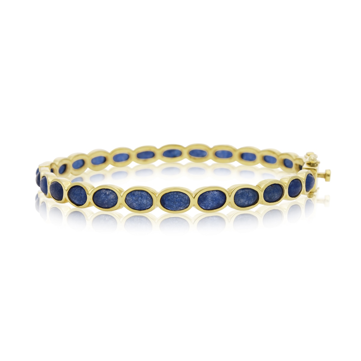 30 TGW Blue Sapphire Bangle Bracelet In Yellow Gold Over ...