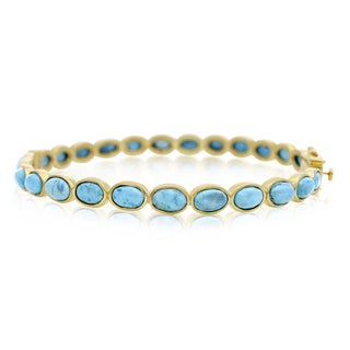 30 TGW Turquoise Bangle Bracelet In Yellow Gold Over Sterling Silver