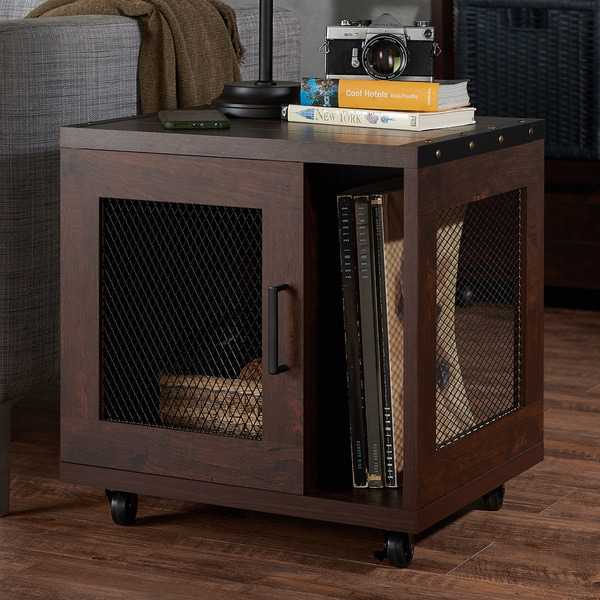 Furniture of america misenia industrial style vintage walnut mobile storage end table free - Industrial style mobel ...