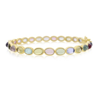 30 Carat Multi Gem Bangle Bracelet In 14K Yellow Gold