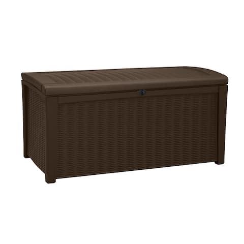 Keter Borneo Deck 110 Gallon Brown Rattan Outdoor Patio Storage Box