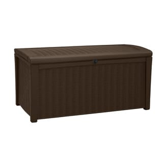 Keter Borneo Deck 110 Gallon Brown Rattan Outdoor Patio Storage Box|https://ak1.ostkcdn.com/images/products/12171716/P19023439.jpg?impolicy=medium