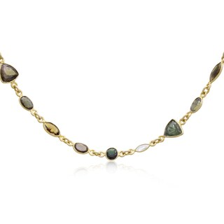 58 TGW Multi Color Tourmaline Gemstone Necklace In Yellow Gold Over Sterling Silver, 34 Inches