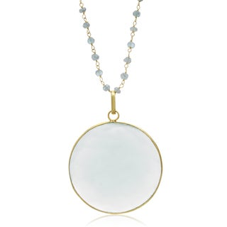 67 TGW Green Chalcedony Disc Necklace In Yellow Gold Over Sterling Silver, 29 Inches