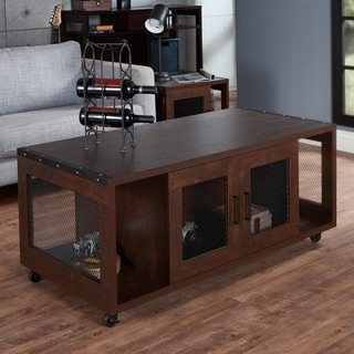 Misenia Industrial Walnut Mobile Storage Coffee Table by FOA