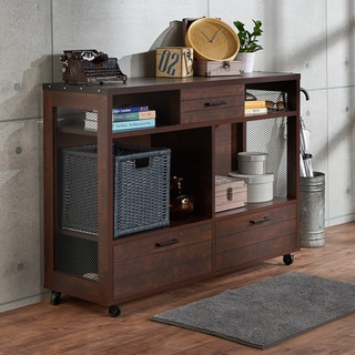 Furniture of America Misenia Industrial Style Vintage Walnut Mobile Storage Sofa Table