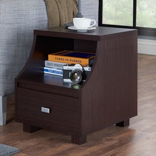 Furniture of America Basa Contemporary Walnut Storage End Table