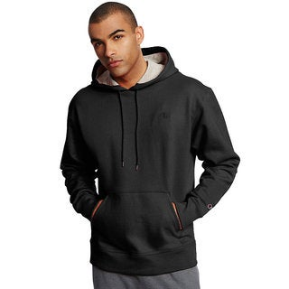 Champion Men's Black Cotton, Polyester Fleece Pullover Crew