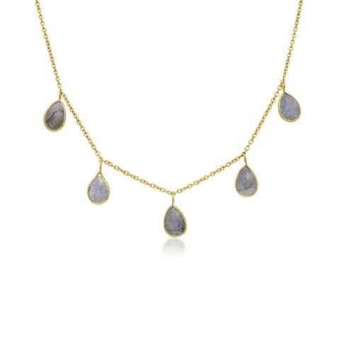 4 TGW Labradorite Multi Drop Necklace In Yellow Gold Over Sterling Silver, 18 Inches