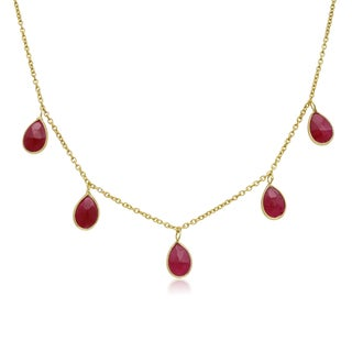 4 Carat Ruby Multi Drop Necklace In 14K Yellow Gold, 18 Inches