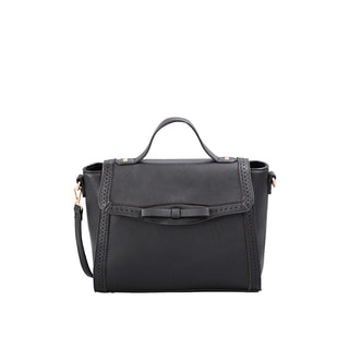 Mellow World Isadora Black Faux-leather Satchel with Removable Shoulder Strap