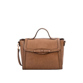 Mellow World Isadora Brown Faux Leather Satchel With Removable Shoulder Strap