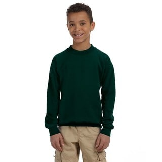 Gildan Boys' Forest Green Cotton and Polyester Heavy Blend Crew Neck Sweatshirt