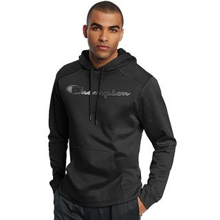 Champion Men's Black/Grey Polyester Tech Fleece Reflective Logo Pullover Hoodie