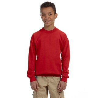 Gildan Boys' Red Cotton/Polyester Heavy-blend Crew Neck Sweatshirt