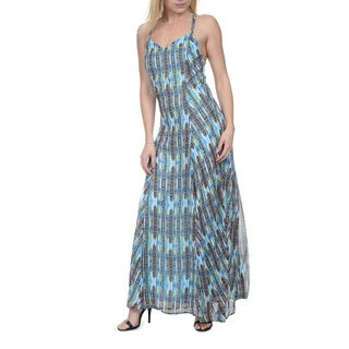 Romeo & Juliet Couture Women's Blue Polyester Sleeveless Printed Maxi Dress