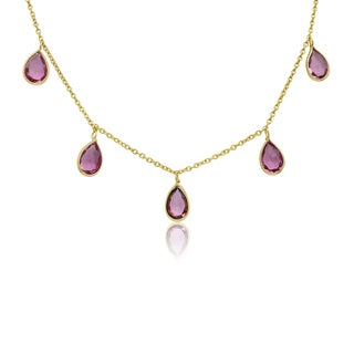 4 Carat Raspberry Quartz Multi Drop Necklace In 14K Yellow Gold, 18 Inches