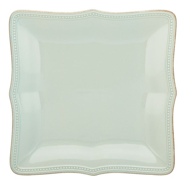 Lenox French Perle Bead Ice Blue Stoneware Square Dinner Plate