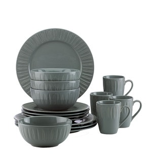 Dansk Burbs Grey Stoneware Carved 16-piece Place Setting