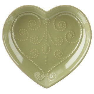 Lenox French Perle Thyme Everything Green Stoneware Heart Dish