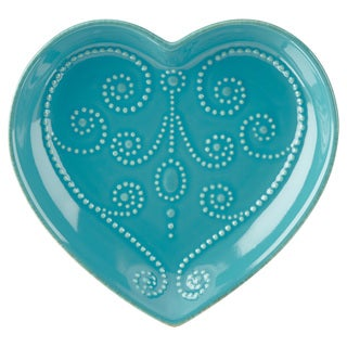 Lenox French Perle Peacock Blue Stonewear Everything Heart Dish