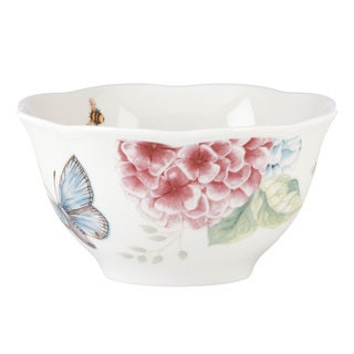 Lenox Butterfly Meadow Hydrangea White Porcelain Rice Bowl