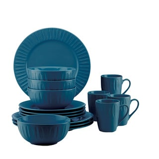 Dansk Burbs Blue Stoneware 16-Piece Carved Place Setting
