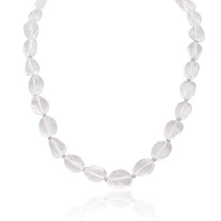 30 Carat Natural Clear Quartz Beaded Necklace, 18 Inches