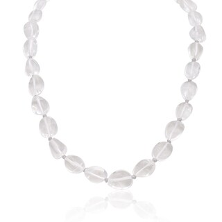 Clear Quartz Beaded Necklace, 18 Inches