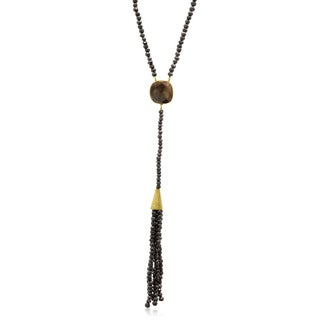 80 TGW Pyrite Tassel Necklace In Yellow Gold Over Sterling Silver, 36 Inches