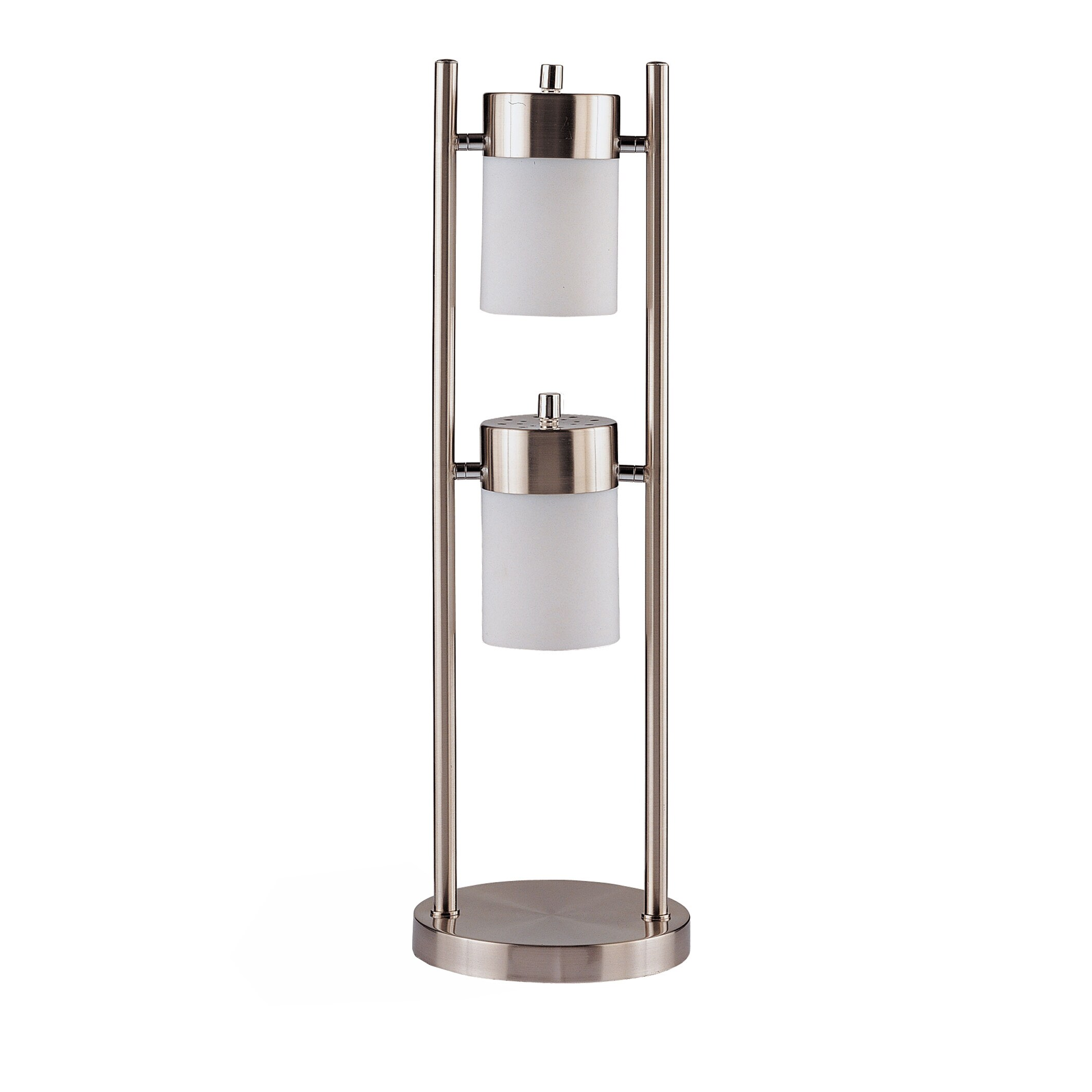 Coaster Furniture Silver Metal, Glass Swivel 2-light Tabl...