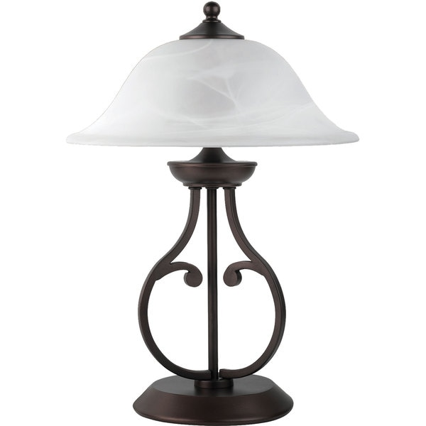 Coaster Company Dark Bronze Table Metal Lamp with Glass Shade